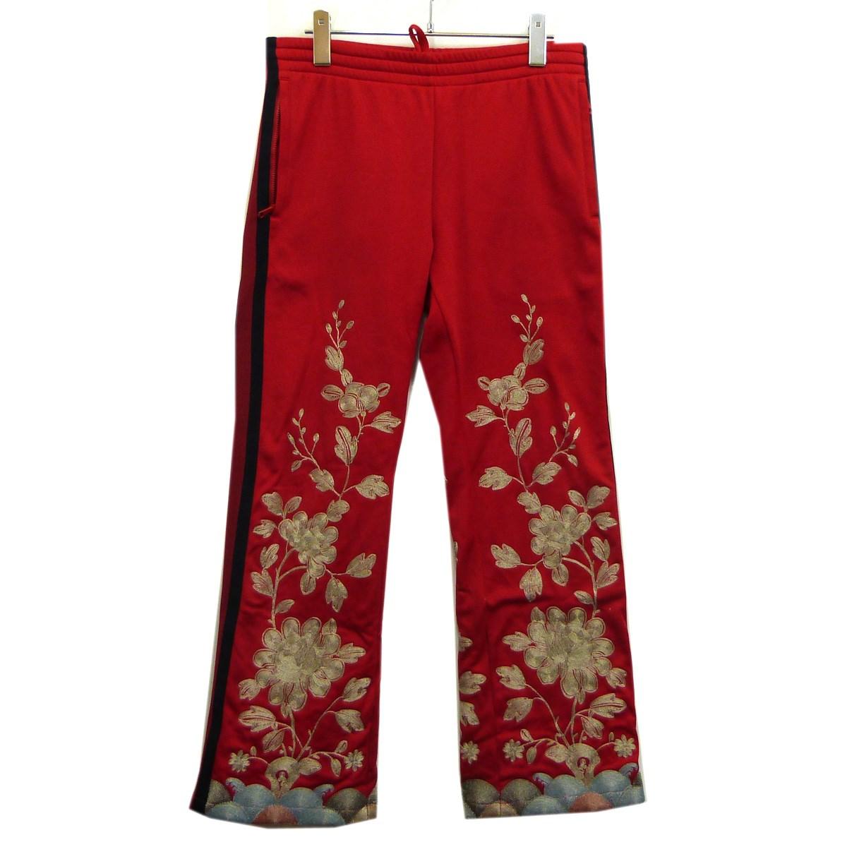 【中古】GUCCI17SSフラワー刺繍サイドラインジャージパンツ レッド サイズ:S【11月14日見直し】
