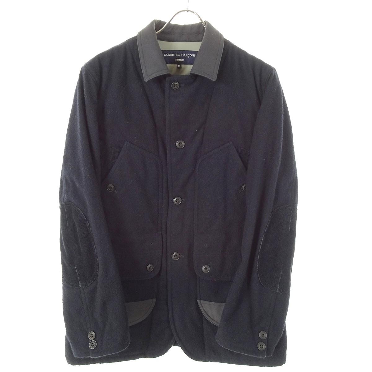 【中古】COMME des GARCONS HOMME エルボーパッチ付きウールジャケット AD2014 ネイビー サイズ:M 【300919】(コムデギャルソンオム)