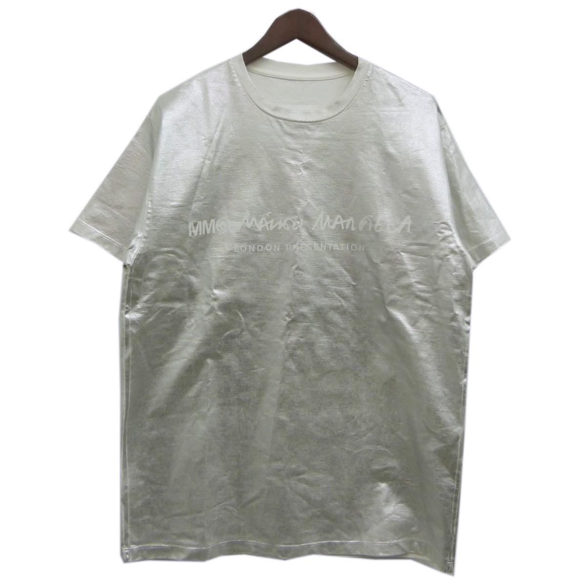 【中古】MM6箔プリントロゴTシャツ シルバー サイズ:XS