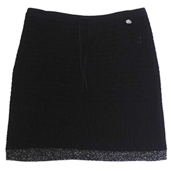 【中古】CHANEL ココマーク ニットスカート ドローコード ブラック サイズ:38 【021019】(シャネル)
