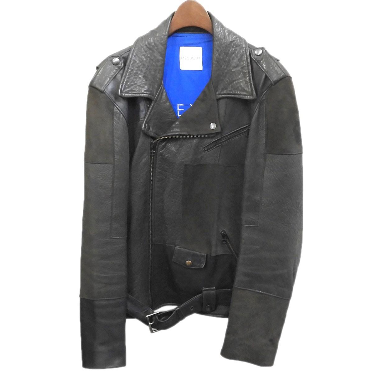 【中古】EACH×OTHER レザーダブルライダースジャケット ブラック サイズ:S 【051019】(イーチアザー)