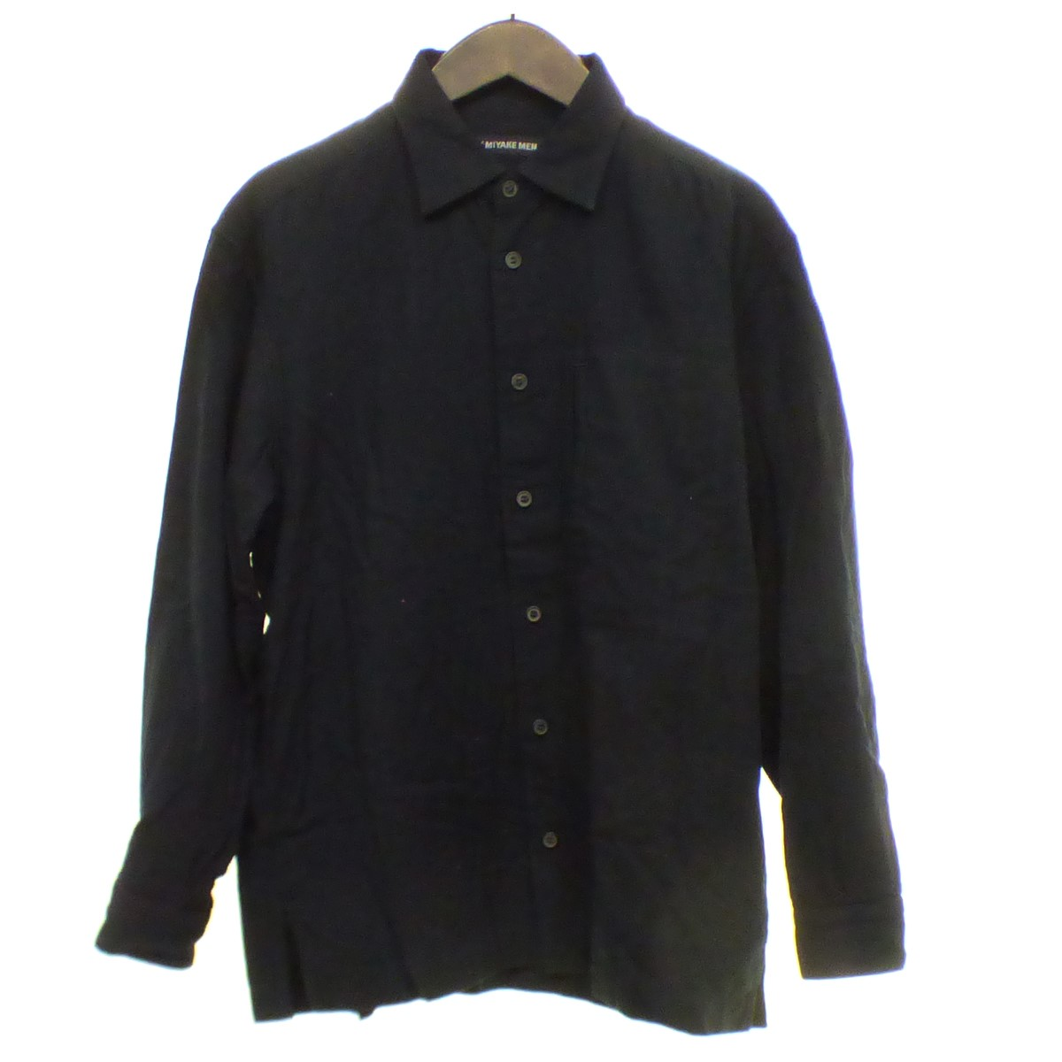【中古】ISSEY MIYAKE MEN 【2017A/W】 コットン 長袖シャツ ブラック サイズ:2 【071019】(イッセイミヤケ)
