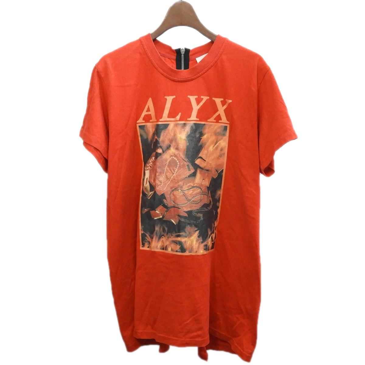 【中古】ALYXバックジップTシャツ レッド サイズ:L
