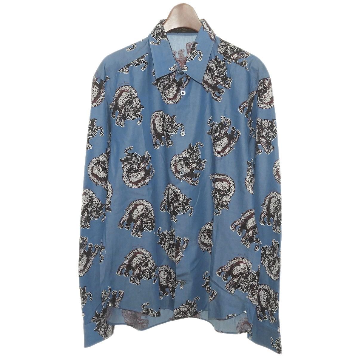 【中古】LOUIS VUITTON×Chapman Brothers2017SS サバンナエレファントシャツ ブルー サイズ:L