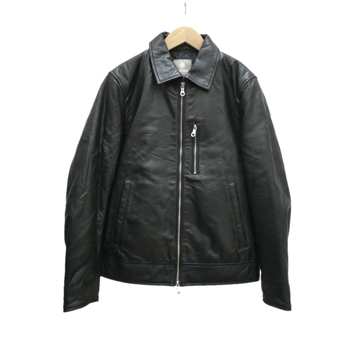 【中古】nano & co レザーシングルライダースジャケット ブラック サイズ:S 【131019】(ナノアンドコー)