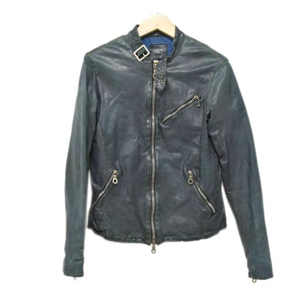 【中古】ISAMU KATAYAMA BACKLASHカーフタンニン二段製品染めシングルライダースジャケット 1097-01 グリーン サイズ:1/S 【4月23日見直し】