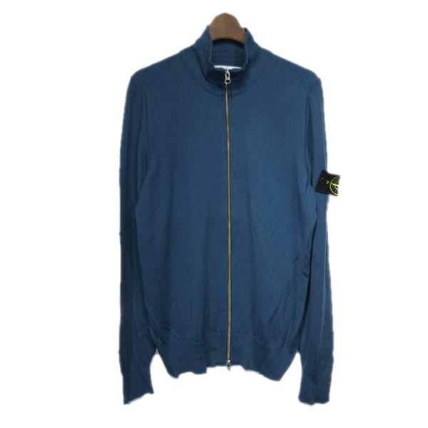 【中古】STONE ISLAND ニットジップジャケット ブルー サイズ:M 【151019】(ストーンアイランド)