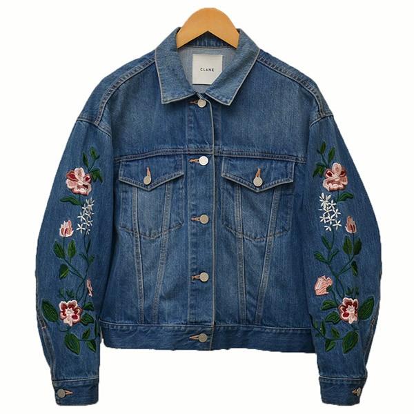 【中古】CLANEEmbroidery Flower G Jean 刺繍 デニムジャケット ジージャン インディゴ サイズ:2 【3月12日見直し】