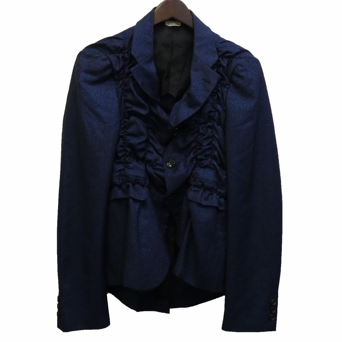 【中古】COMME des GARCONS HOMME PLUS19SS シャーリングラメテーラードジャケット ブルー サイズ:S 【3月30日見直し】