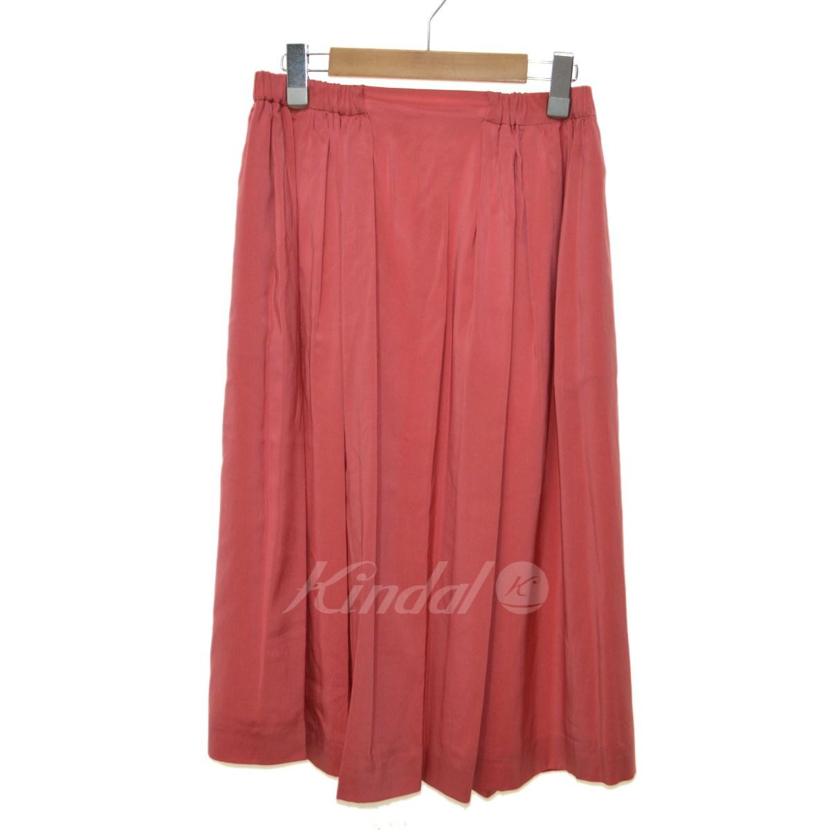 【中古】DRAWER シルクギャザーミモレ丈スカート ピンク サイズ:36 【211019】(ドゥロワー)