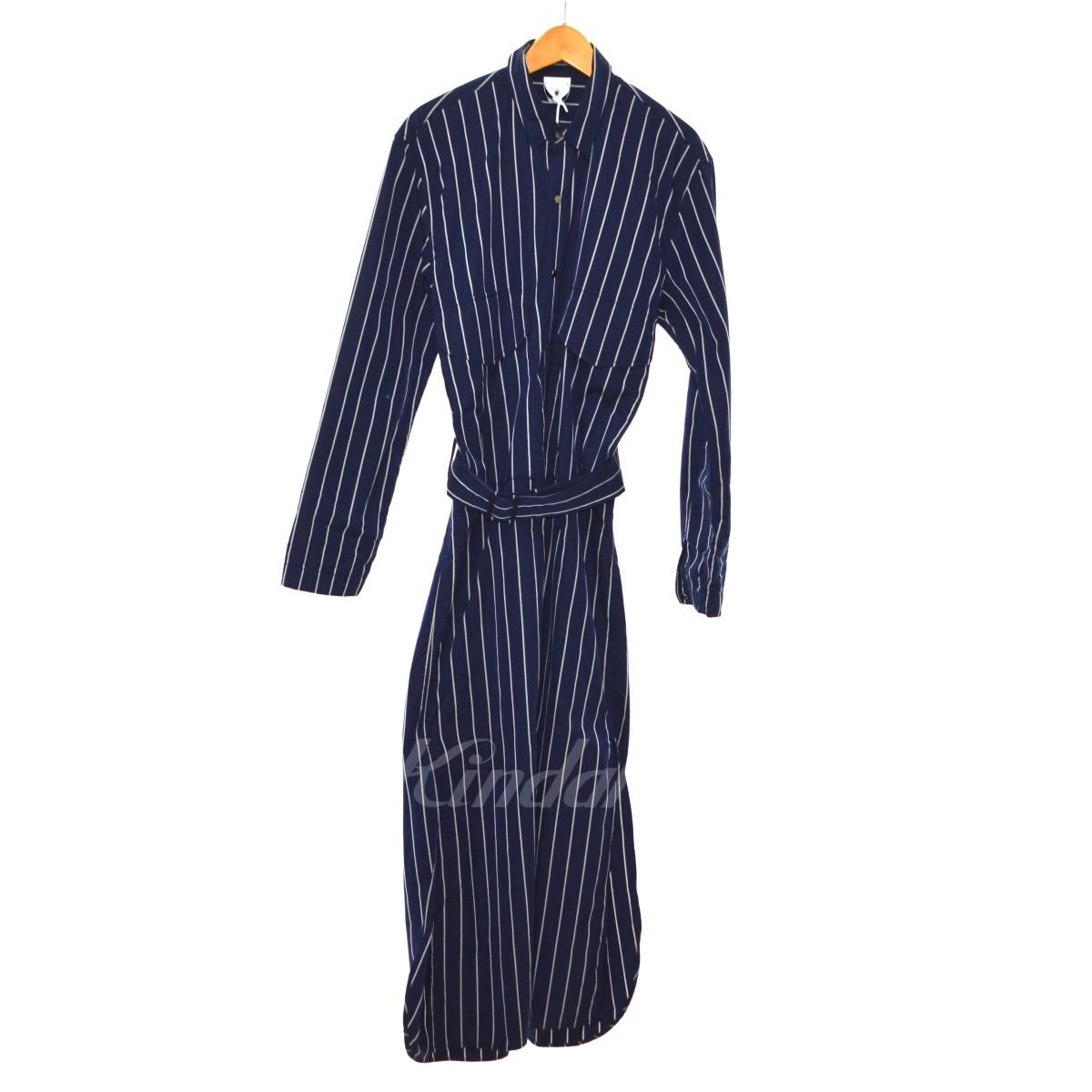 【中古】MIHARA YASUHIRO ストライプギャザーコート ネイビー サイズ:Free 【211019】(ミハラヤスヒロ)