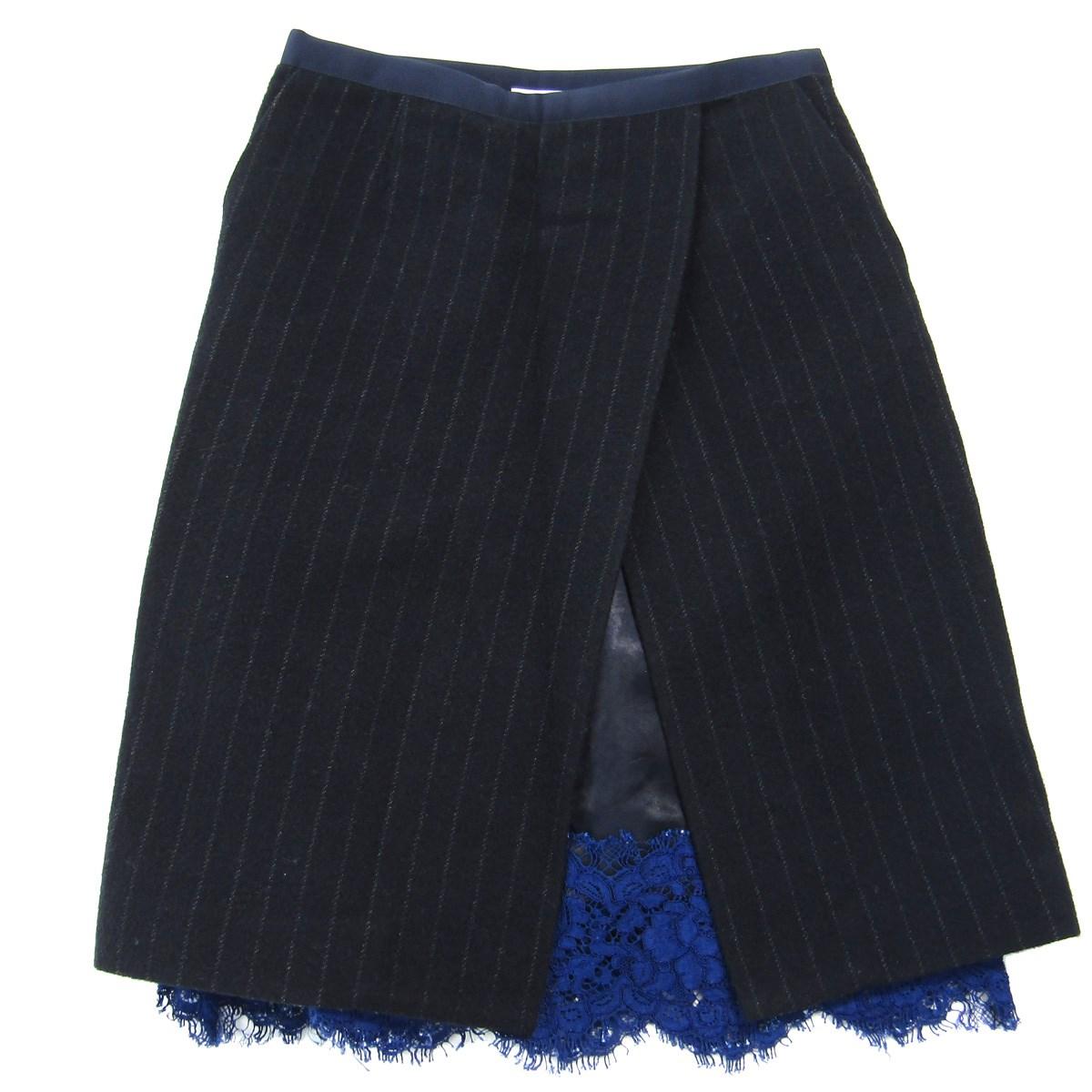 【中古】sacai luck 2014A/W ストライプ柄 レースデザインスカート ネイビー サイズ:1 【221019】(サカイ ラック)