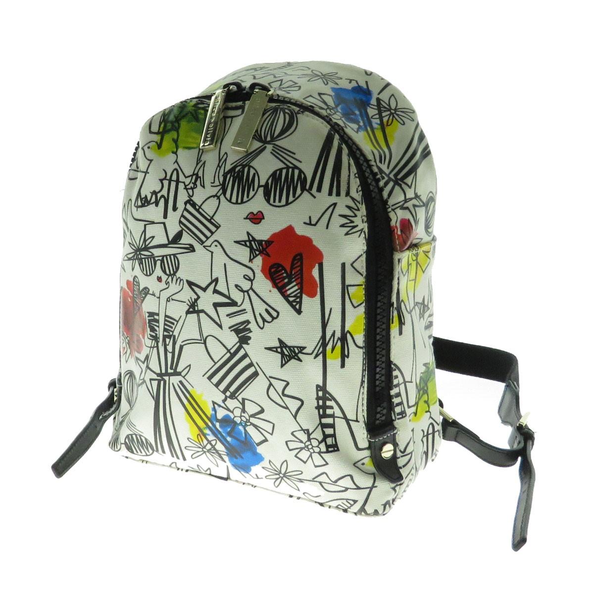 【中古】alice olivia Graffiti Print Small Backpack 総柄バックパック リュックサック ホワイト 【221019】(アリスアンドオリビア)