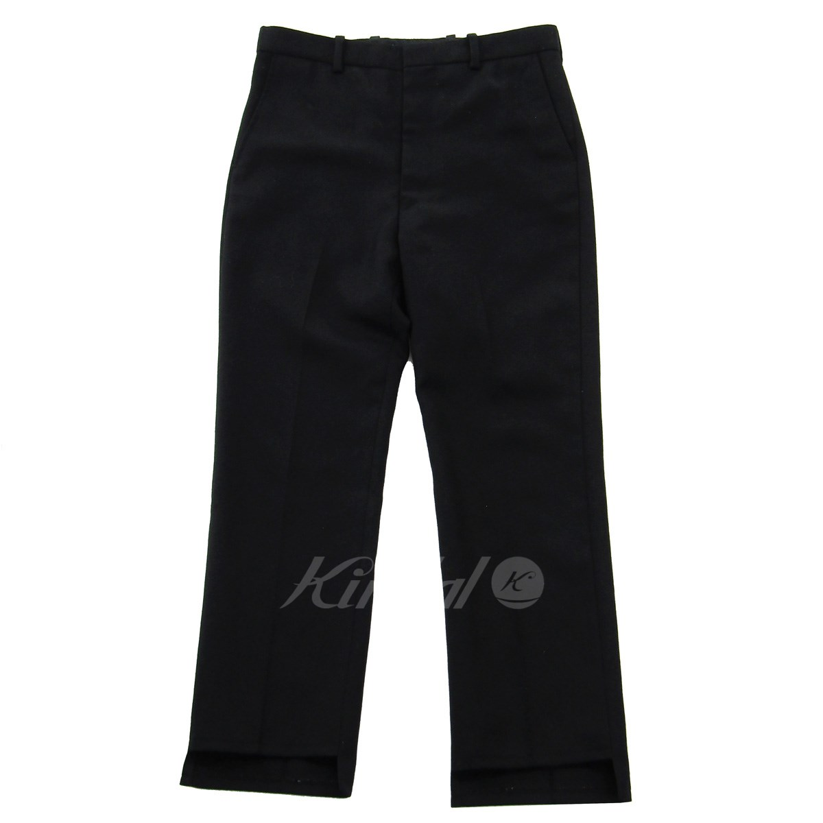 【中古】UNUSED 2018AW Cheviot twill pants ウール テーパードスラックスパンツ ブラック サイズ:3 【221019】(アンユーズド)