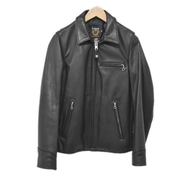 【中古】SCHOTT シングルライダースジャケット TRUCKER JACKET レザー トラッカージャケット ブラック サイズ:34 【241019】(ショット)