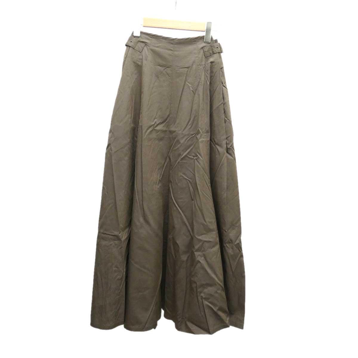 【中古】GALERIE VIE コットンシルクサイドタックスカート 2018SS カーキ サイズ:32 【241019】(ギャルリーヴィー)