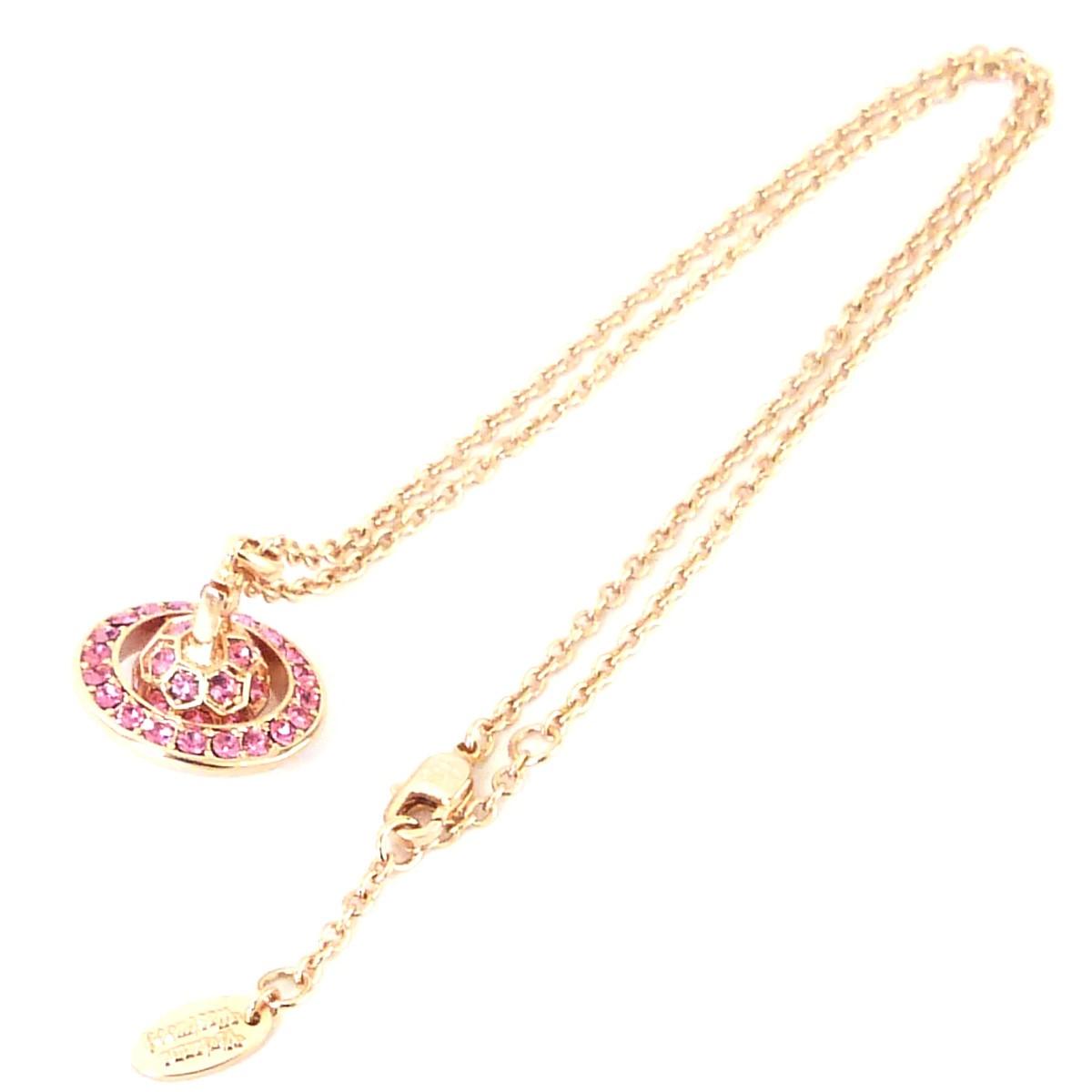 【中古】Vivienne Westwood 石付オーブネックレス ピンクゴールド サイズ:- 【241019】(ヴィヴィアンウエストウッド)