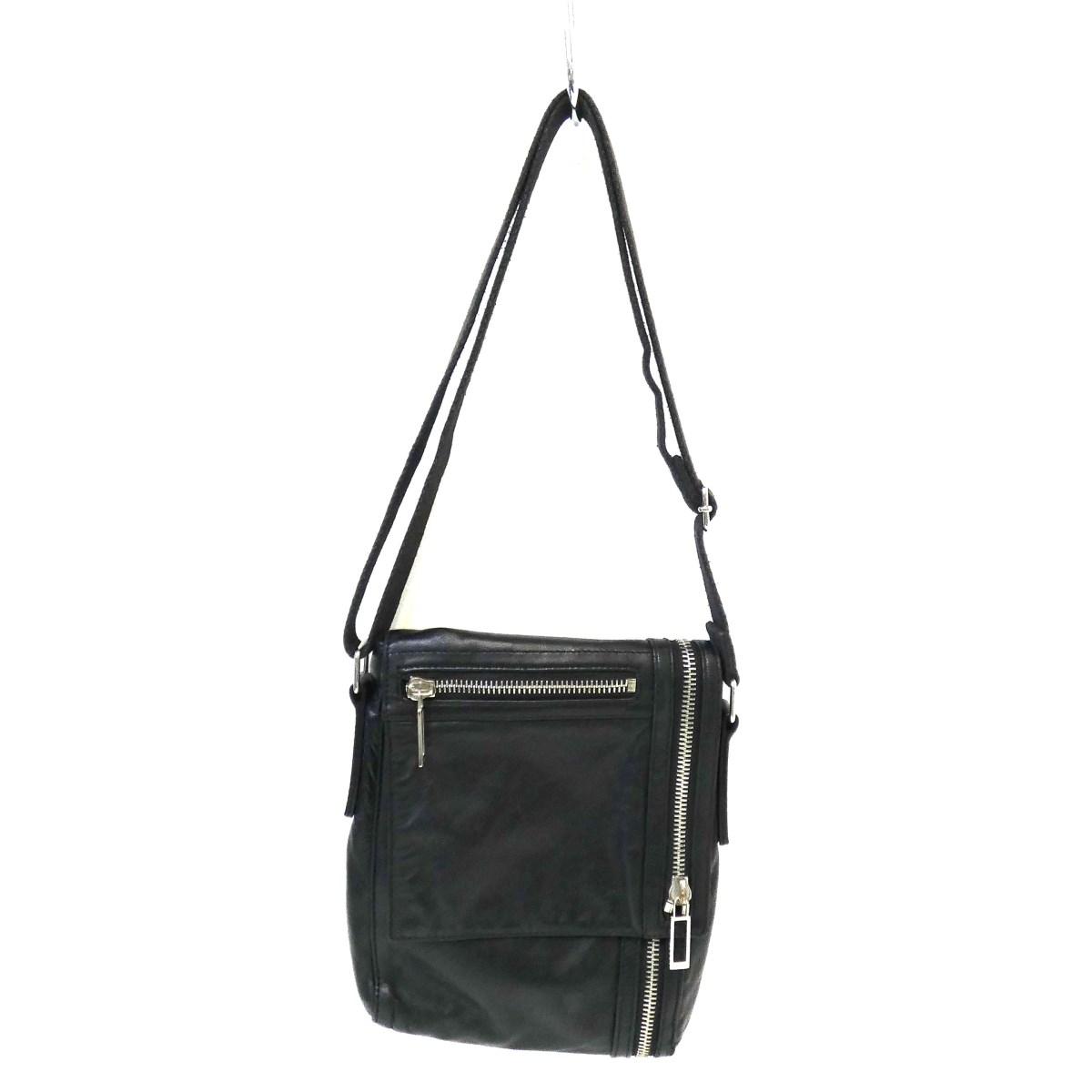 与え 12月12日 お値段見直しました 中古 Dior サイズ:- Homme12-B0-0190 お求めやすく価格改定 ブラック レザージップショルダーバッグ