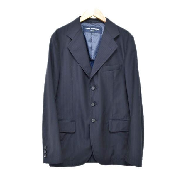 【中古】COMME des GARCONS HOMME ストライプ3Bテーラードジャケット AD2013 ネイビー サイズ:S 【261019】(コムデギャルソンオム)