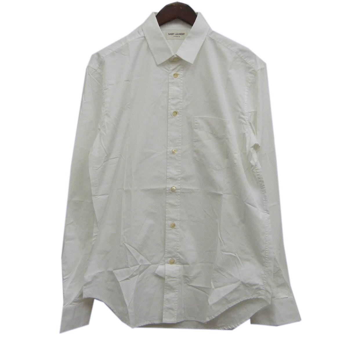 【中古】SAINT LAURENT PARISダメージ加工ドレスシャツ ホワイト サイズ:39