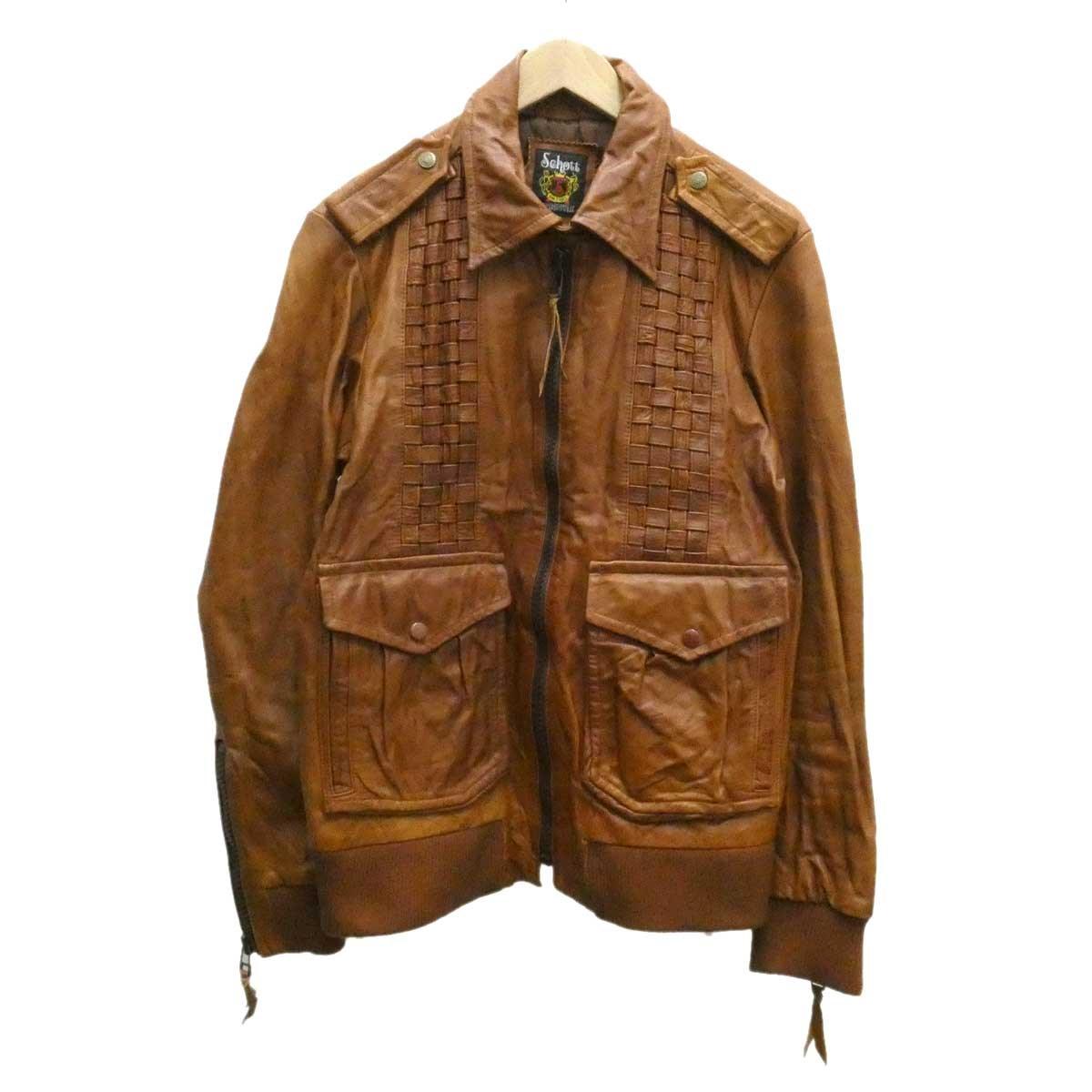 【中古】SCHOTTホースハイドジャケット ライトブラウン サイズ:L【2月20日見直し】