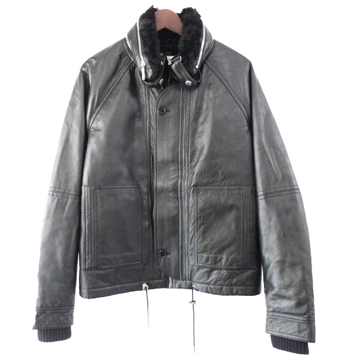 【中古】SAINT LAURENT PARIS 17AW ムートンライナーレザージャケット ブラック サイズ:46 【011119】(サンローランパリ)