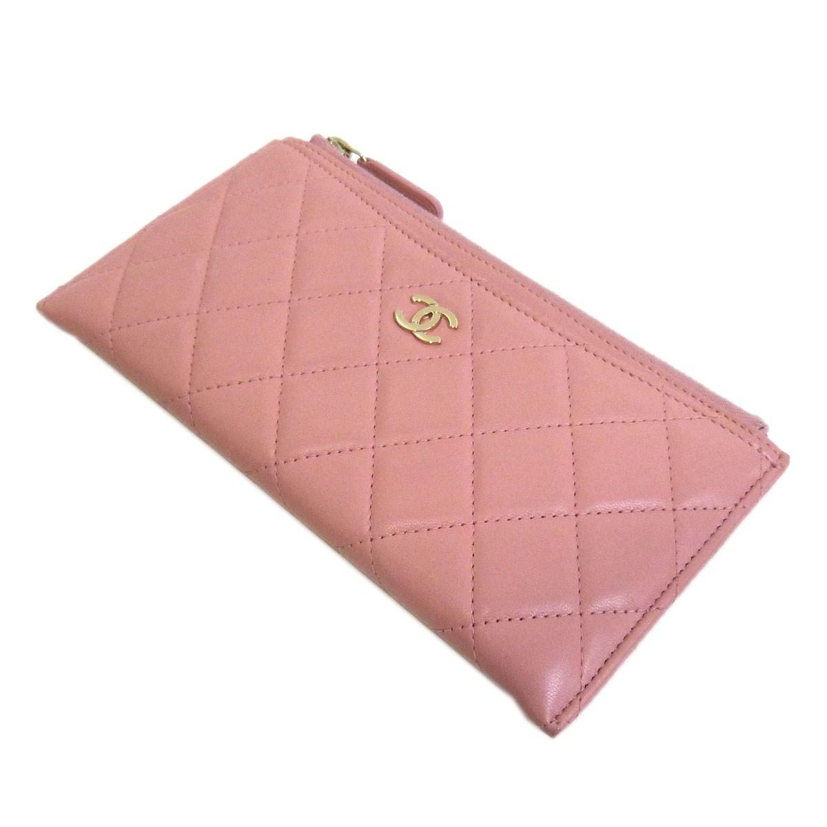【中古】CHANELマトラッセラムスキン1ジップウォレット ピンク