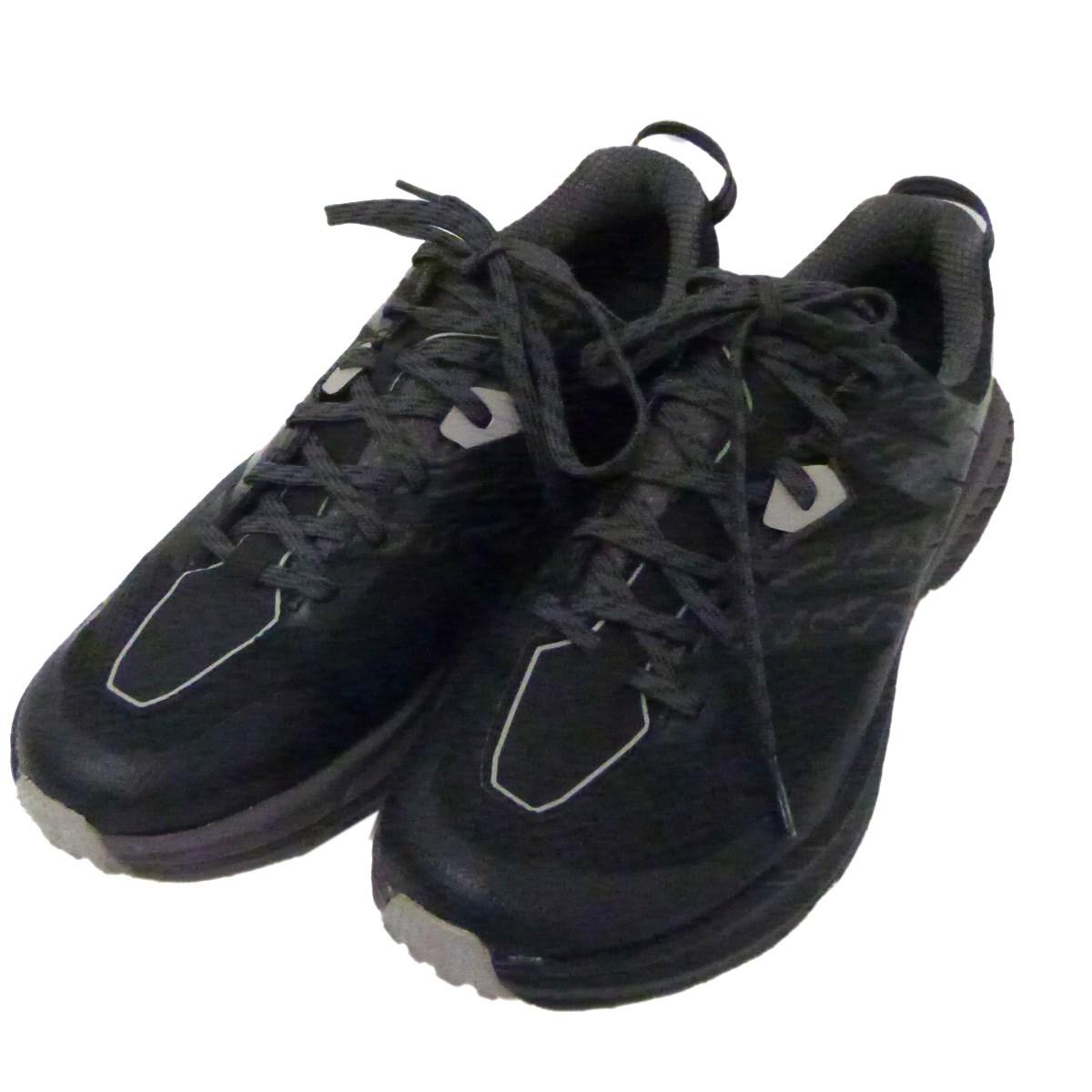 【12月2日 お値段見直しました】【中古】HOKAONEONE「SPEEDGOAT 3 WP」スニーカー ブラック サイズ:27.5cm
