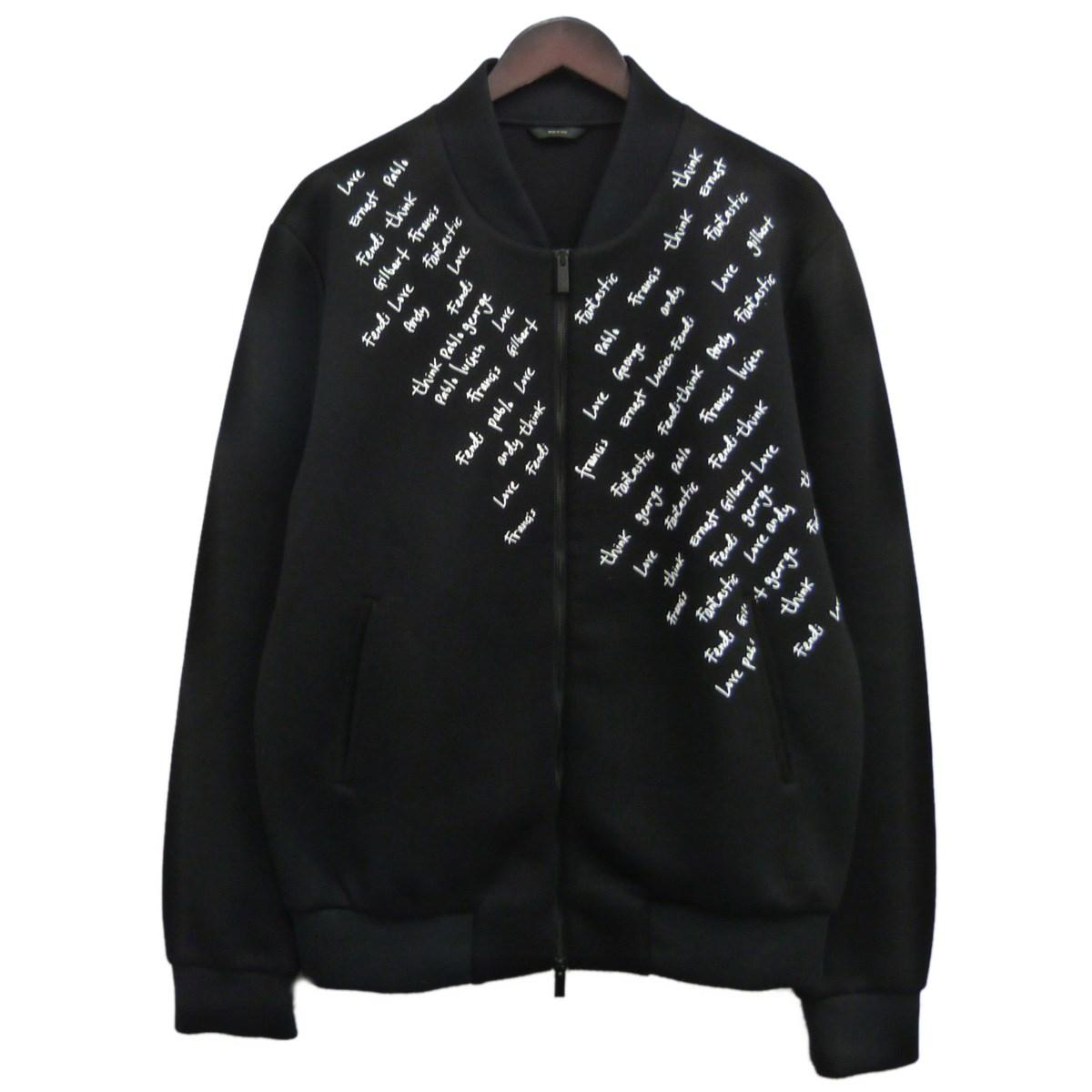 【中古】FENDI 英字刺繍ボンディングジャケット ブラック サイズ:48 【051119】(フェンディ)