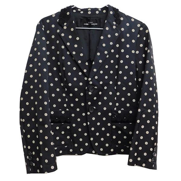【中古】tricot COMME des GARCONS 刺繍アレンジ ドット柄ジャケット ブラック サイズ:S 【061119】(トリココムデギャルソン)