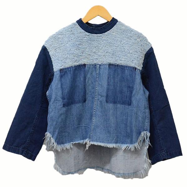 【中古】mame kurogouchiデニム裂織ブラウス デニムシャツ シャツ インディゴ サイズ:1