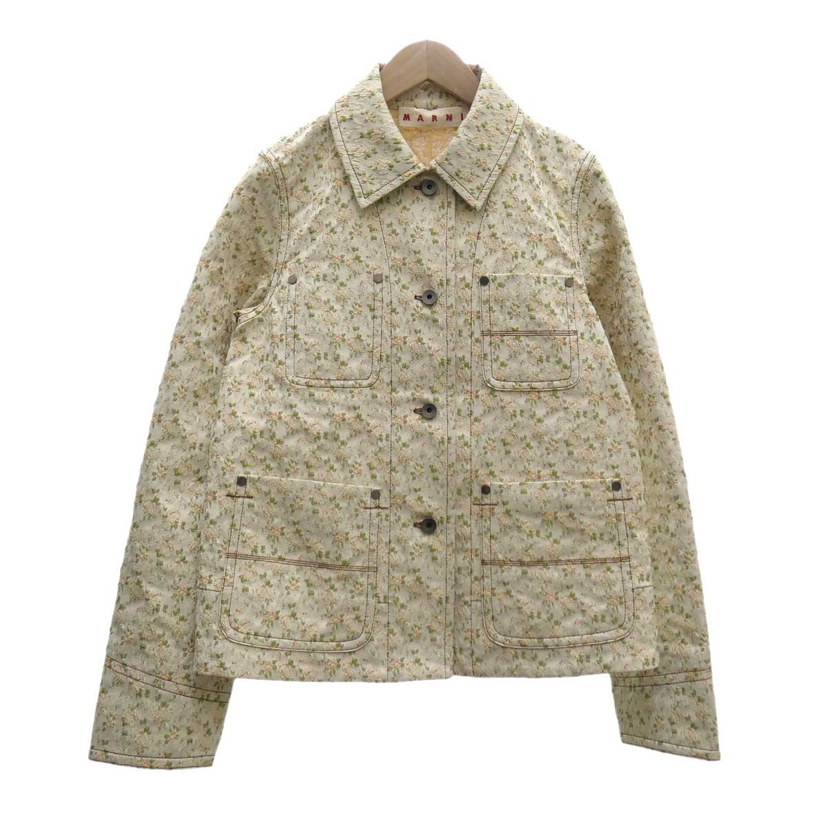 【中古】MARNI花柄刺繍ジャケット オフホワイト サイズ:40