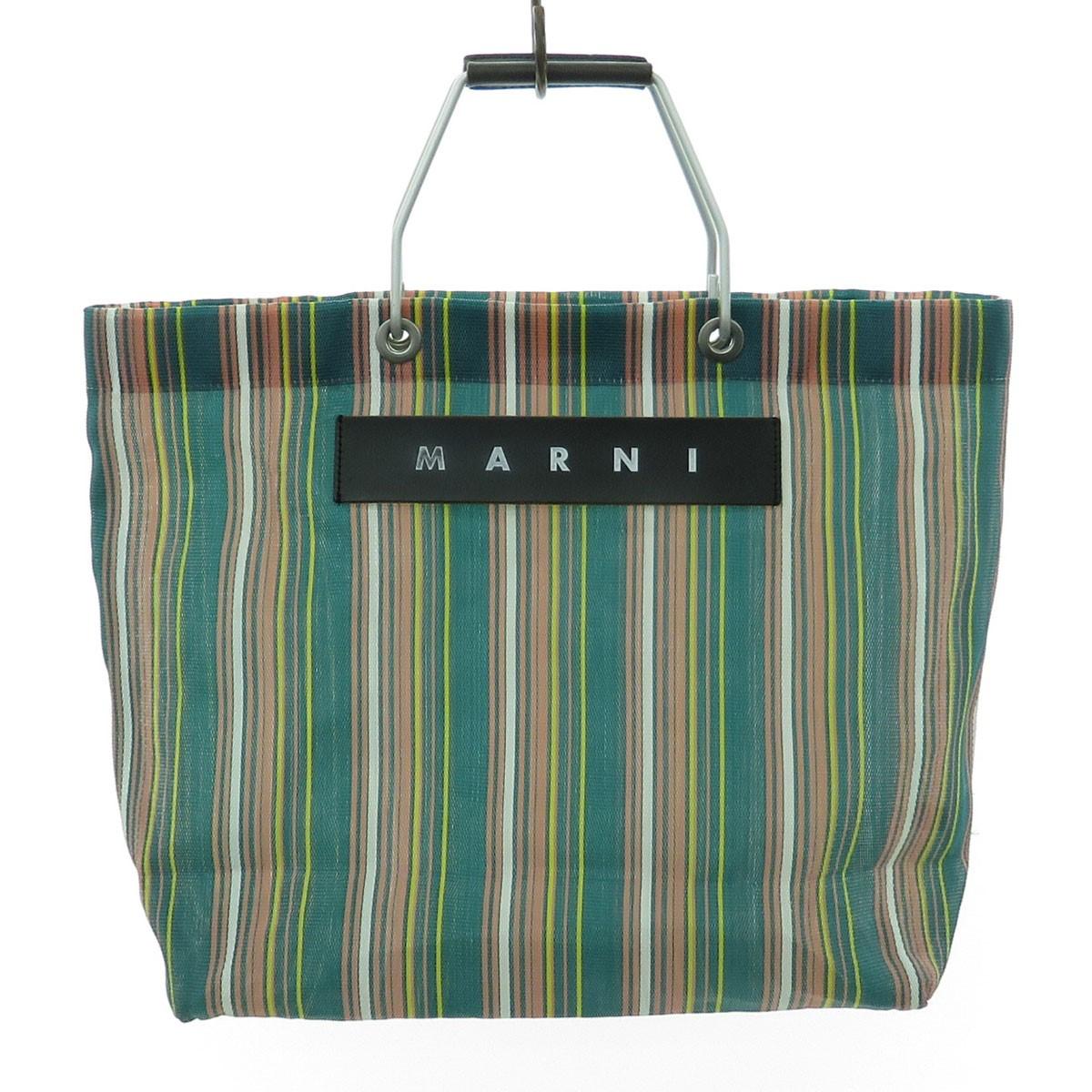 【中古】MARNI FLOWER CAFE トートバッグ フラワーカフェストライプ グリーン 【071119】(マルニ)