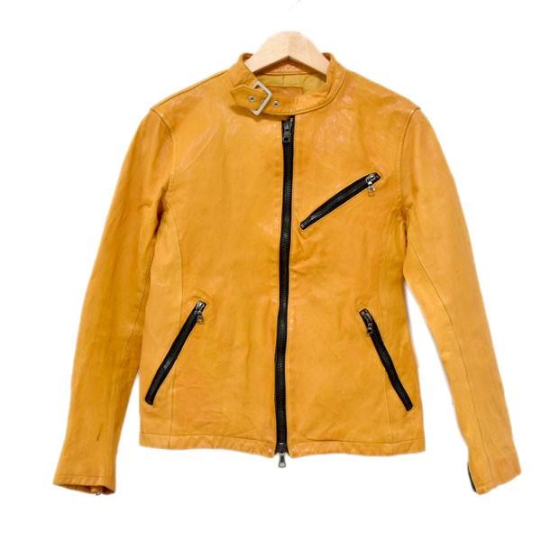 【中古】ISAMU KATAYAMA BACKLASHドイツカーフリターン製品染め シングルライダースジャケット 1328-01 イエロー サイズ:1/S 【4月27日見直し】