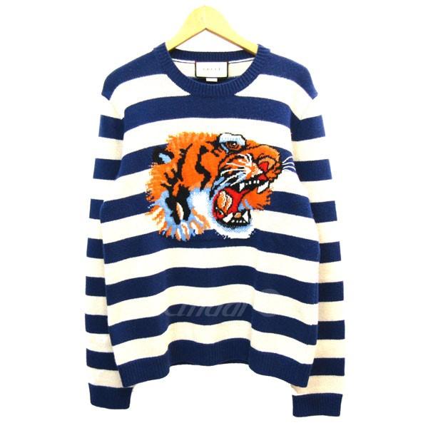 【中古】GUCCI2018S/S タイガー刺繍ボーダー柄ニットセーター ブルー×アイボリー サイズ:S