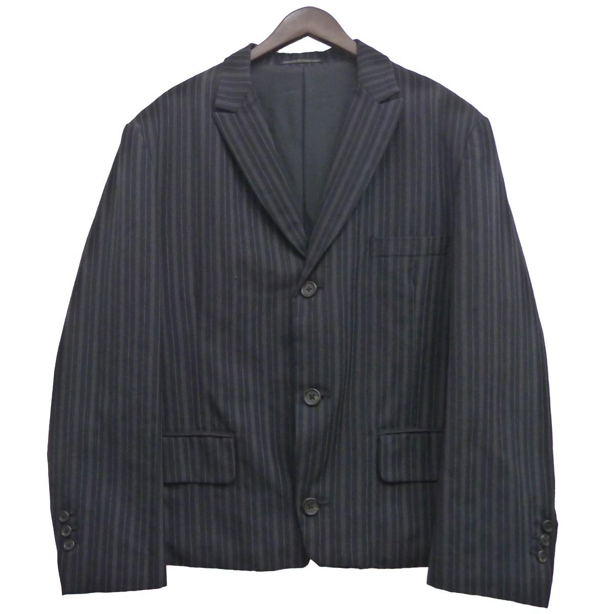 【中古】YOHJI YAMAMOTO pour homme ピークドラペルストライプジャケット ブラック サイズ:5 【101119】(ヨウジヤマモトプールオム)