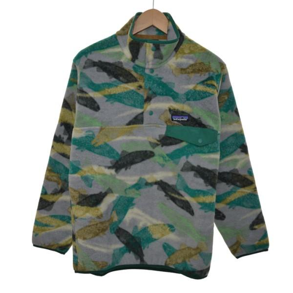 【中古】patagonia Snap-T Fleece Pullover フリースジャケット グレー×グリーン サイズ:XS 【111119】(パタゴニア)