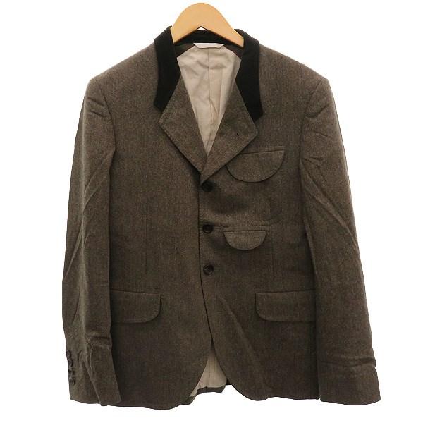 【中古】Paul Smith 襟ベロア切替テーラードジャケット カーキブラウン サイズ:M 【131119】(ポールスミス)