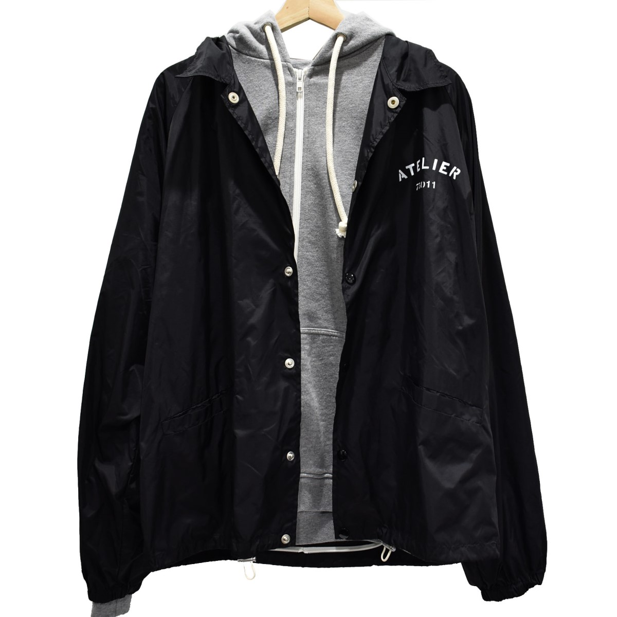 【中古】Martin Margiela14 18SS ハイブリッド フーディジャケット ブラック×グレー サイズ:48 【131119】(マルタン・マルジェラ14)