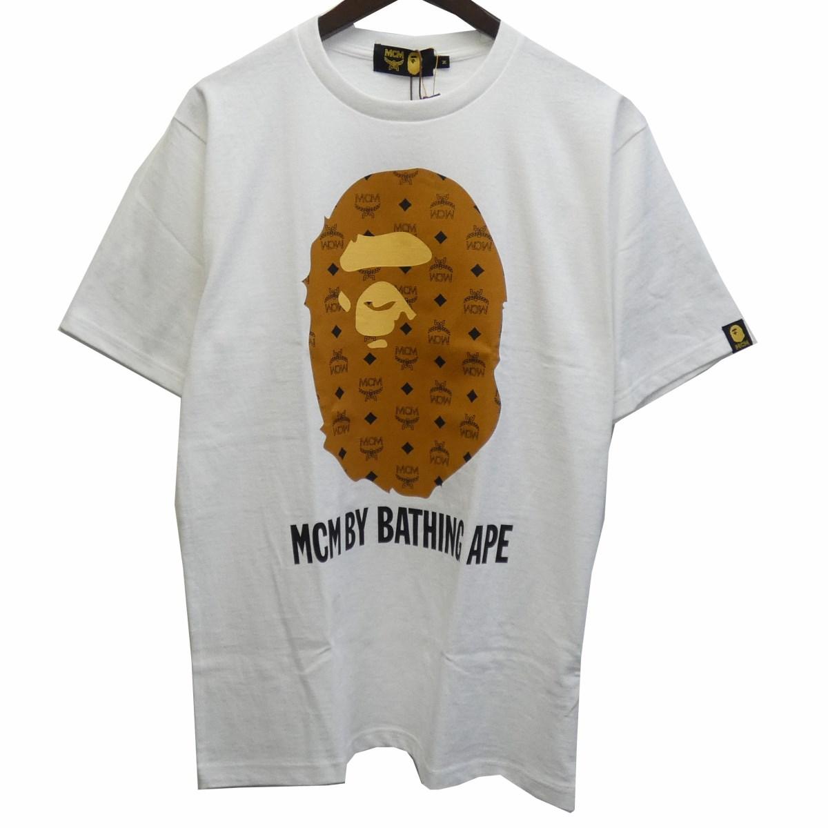 【中古】A BATHING APE × MCM19AW「BY BATHING TEE」プリントTシャツ ホワイト サイズ:M