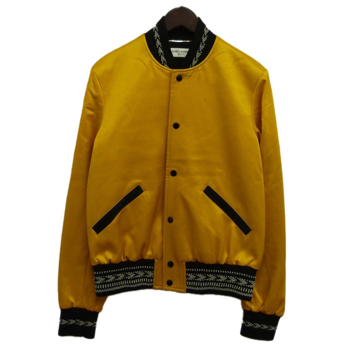 【中古】SAINT LAURENT PARIS18SSサテンヴァーシティジャケット イエロー サイズ:46【2月27日見直し】