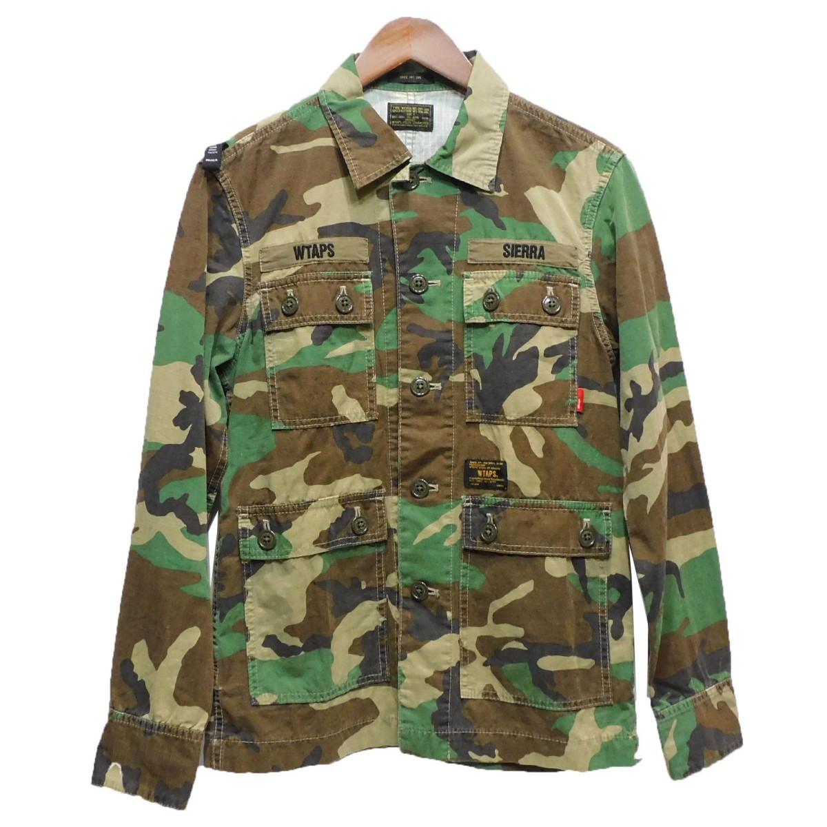【中古】WTAPS13AW「JUNGLE L/S」カモフラミリタリーシャツ カーキ サイズ:1