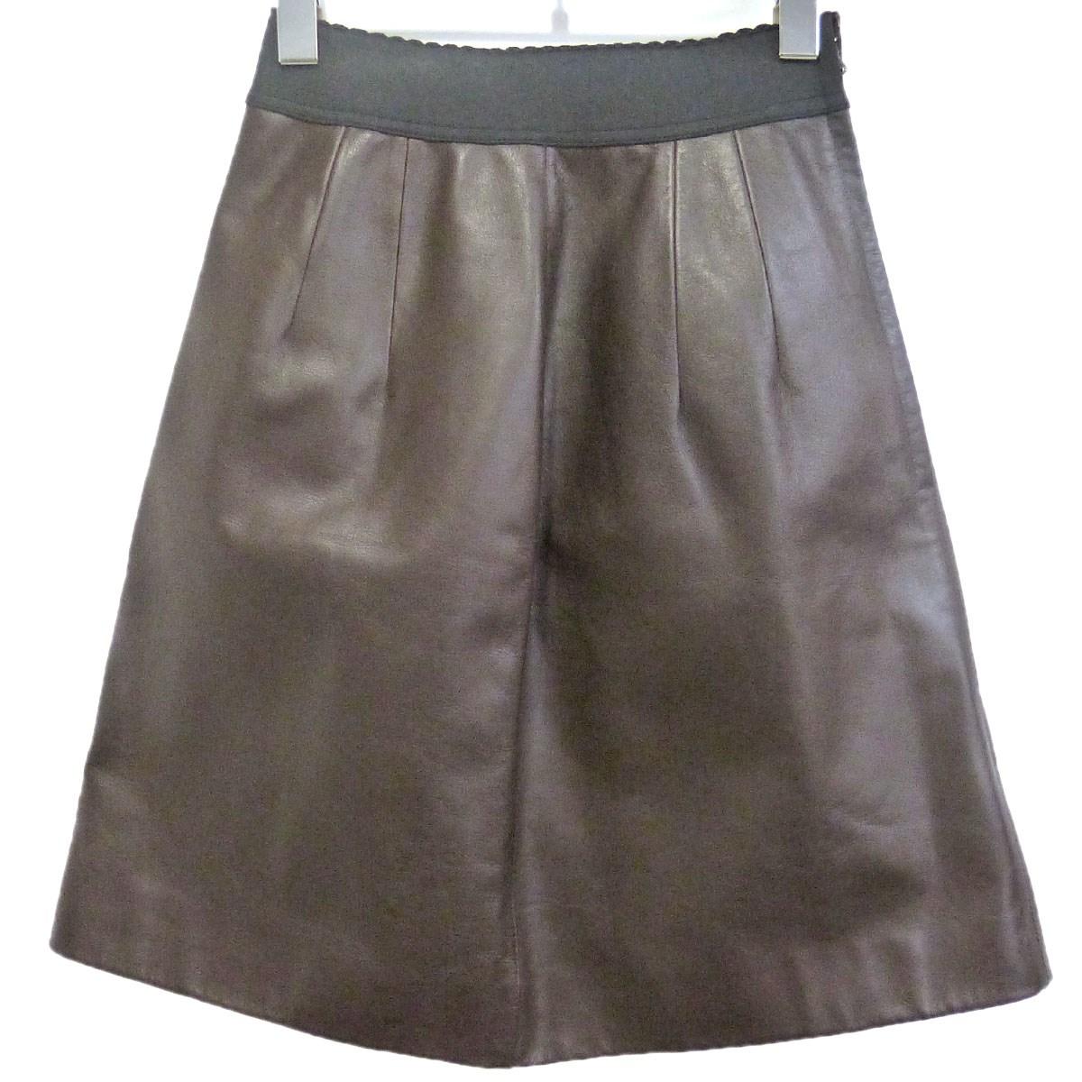 【中古】DOLCE&GABBANAレザースカート ブラウン サイズ:40