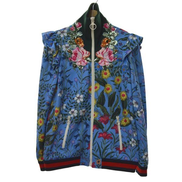 【中古】GUCCI17AW エンブロイダリーテクニカルジャケット ブルー サイズ:L