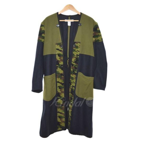 【中古】COMME des GARCONS SHIRT 17AW Patch Camoflage Coat カモ柄コート ネイビー×カーキ サイズ:XS 【201119】(コムデギャルソンシャツ)