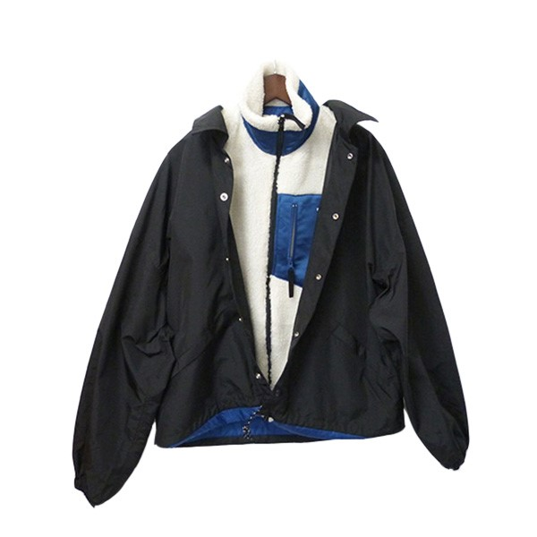 【中古】NEON SIGN「SANDWICH WORK JACKET」 サンドウィッチジャケット レイヤードジャケット ブラック×ホワイト×ブルー サイズ:44【1月20日見直し】