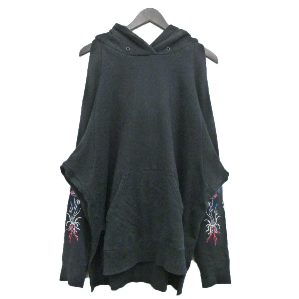【中古】mame 17SS袖刺繍オープンショルダーパーカー ブラック サイズ:1 【231119】(マメ)