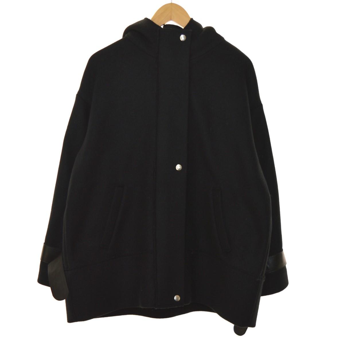 【中古】AERON カシミヤ混ジップアップコート ブラック サイズ:34 【241119】(エアロン)