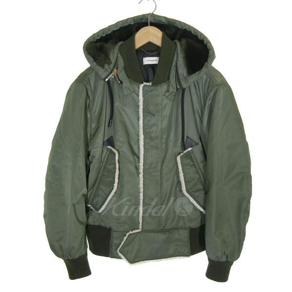 【中古】COACH フード付MA-1フライトジャケット カーキ サイズ:44 【251119】(コーチ)