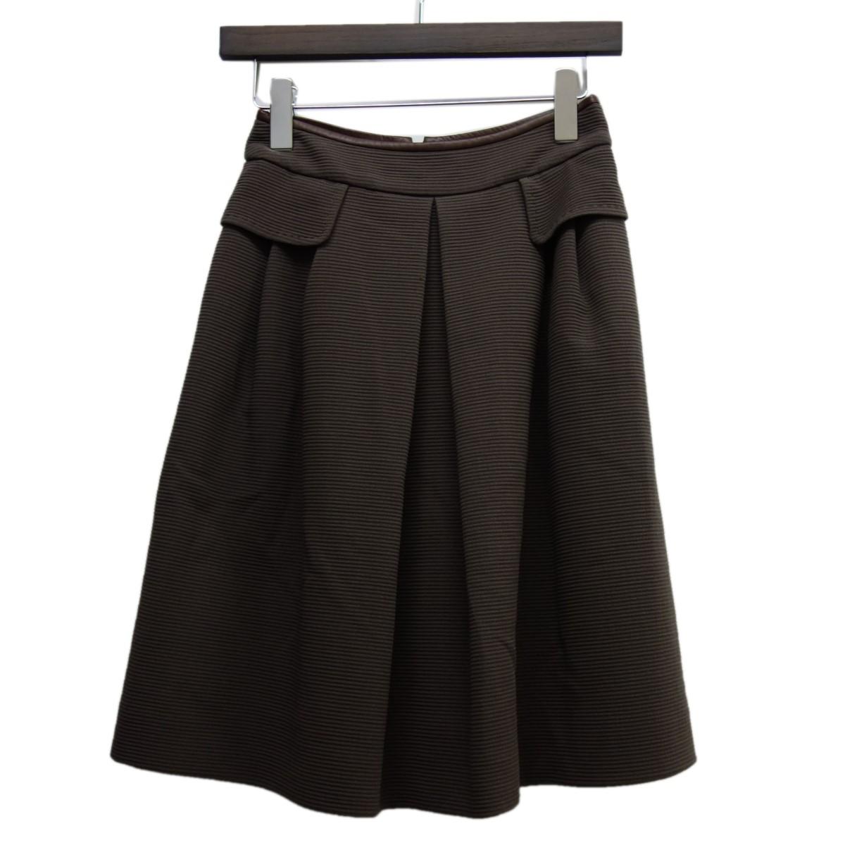 【中古】FOXEYレザーパイピングスカート「Jasmine」 エスプレッソ サイズ:38 【7月13日見直し】